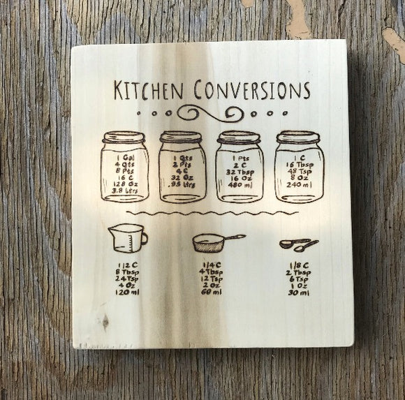 useful kitchen signs, measuring conversions, useful kitchen decor, kitchen conversions, useful housewarming gifts