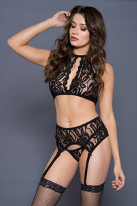 Open Halter Lace Set