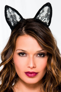 Bunny Lace headband Black