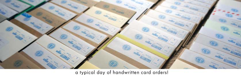 Handwritten cards getting ready for posting!
