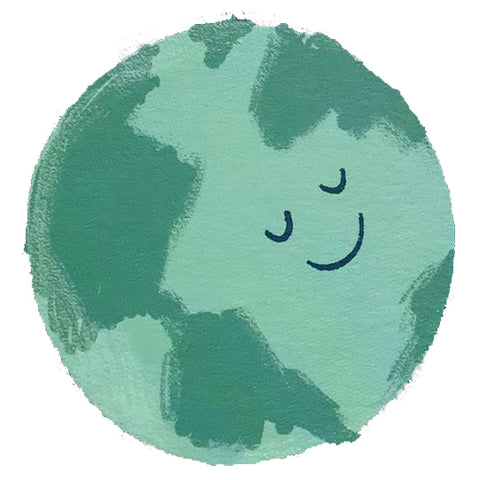 A smiley-faced Earth illustrated by Stormy Knight