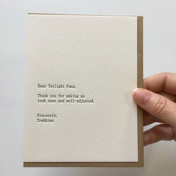 Twilight Fans Letterpress Greeting Card
