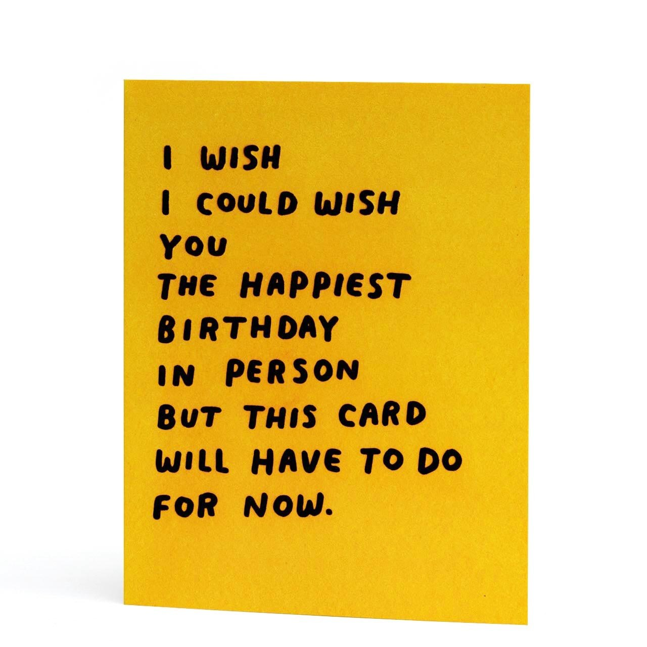 In Person Birthday Letterpress Neon Greeting Card
