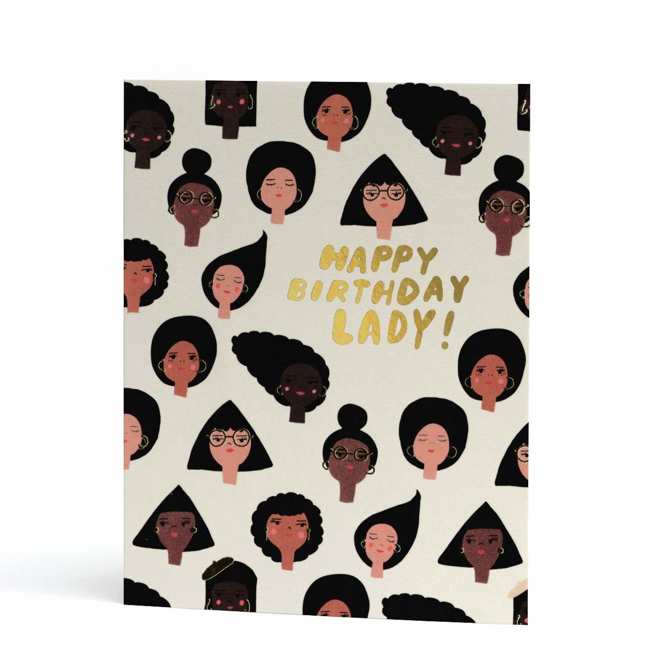 Geo Girls Gold Foil Birthday Card