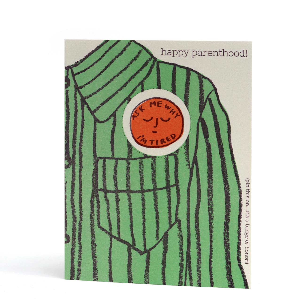 Happy Parenthood Letterpress Pop-Out Badge Greeting Card