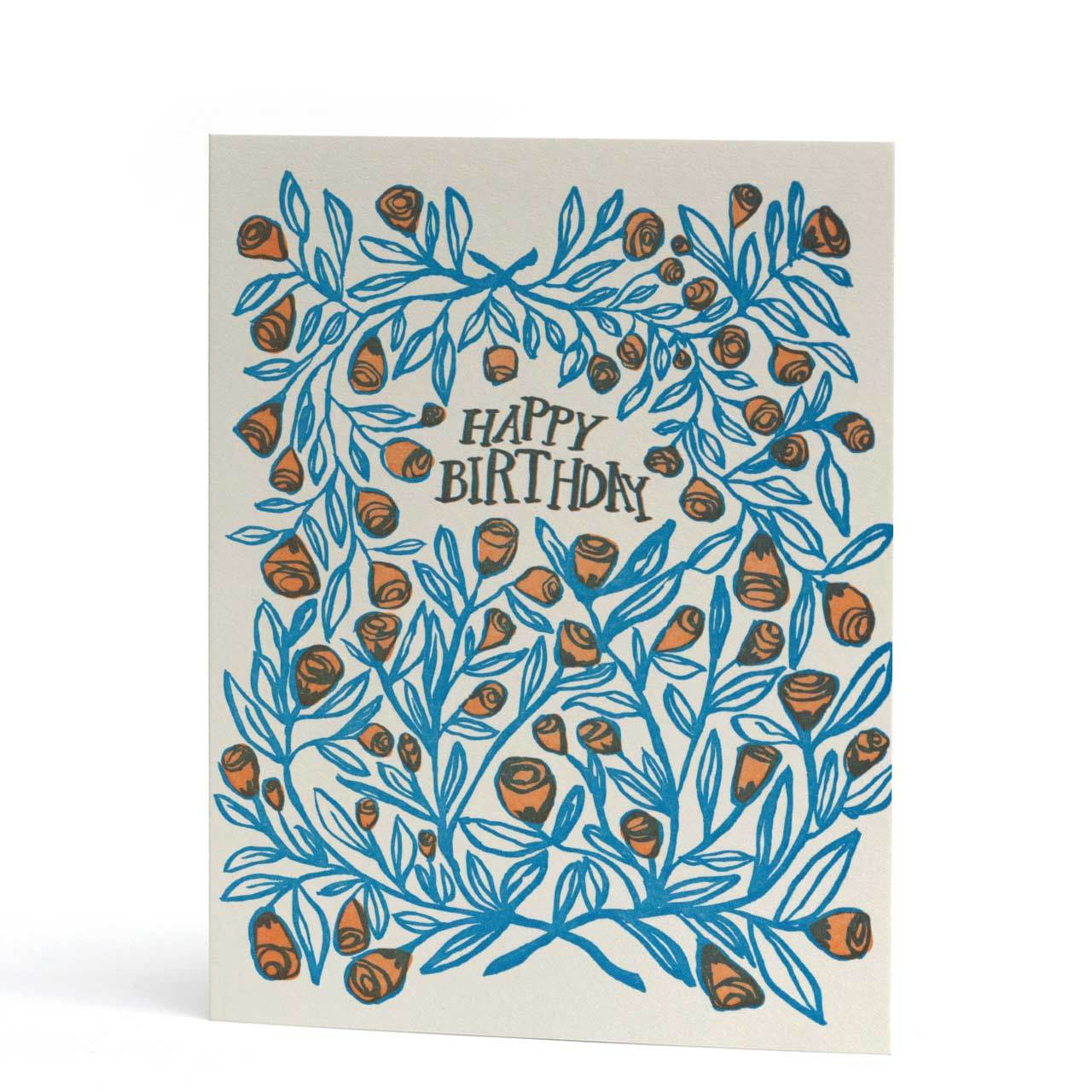 Happy Birthday Roses Letterpress Greeting Card