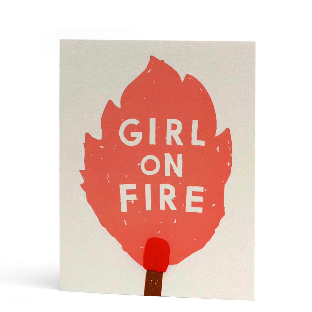 Girl on Fire Neon Letterpress Greeting Card