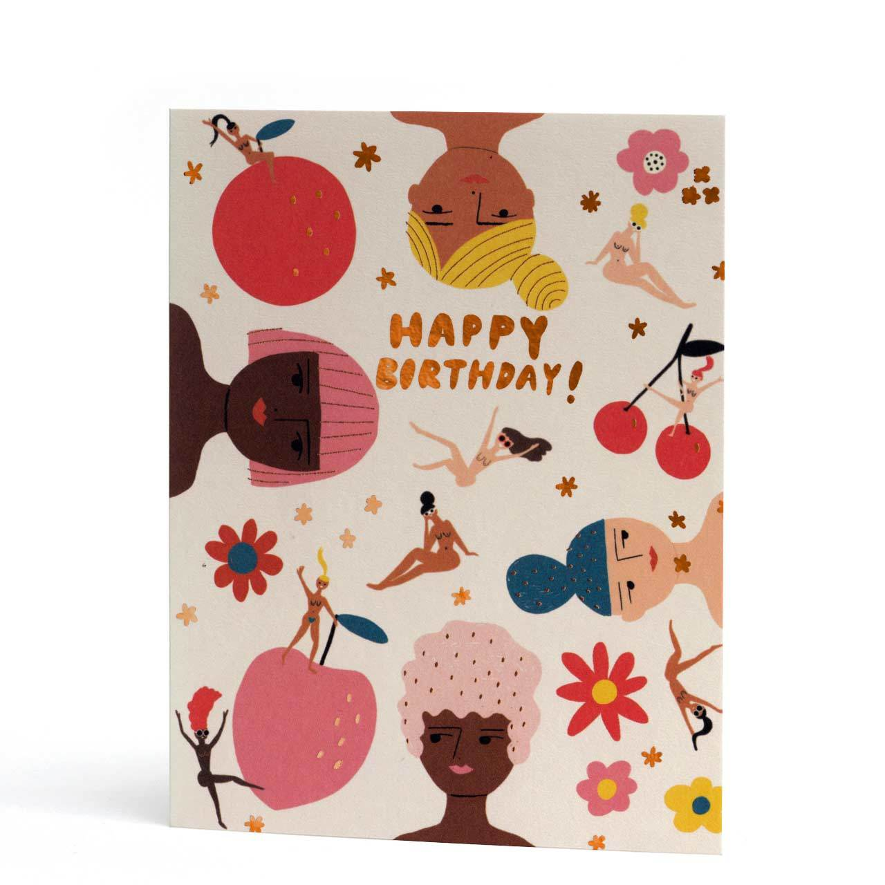 Fruity Nudes Copper Foil Birthday Card