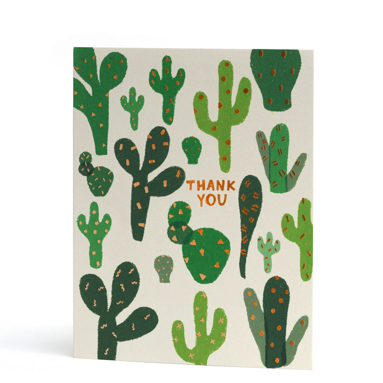 Thank You Cacti Copper Foil Greeting Card