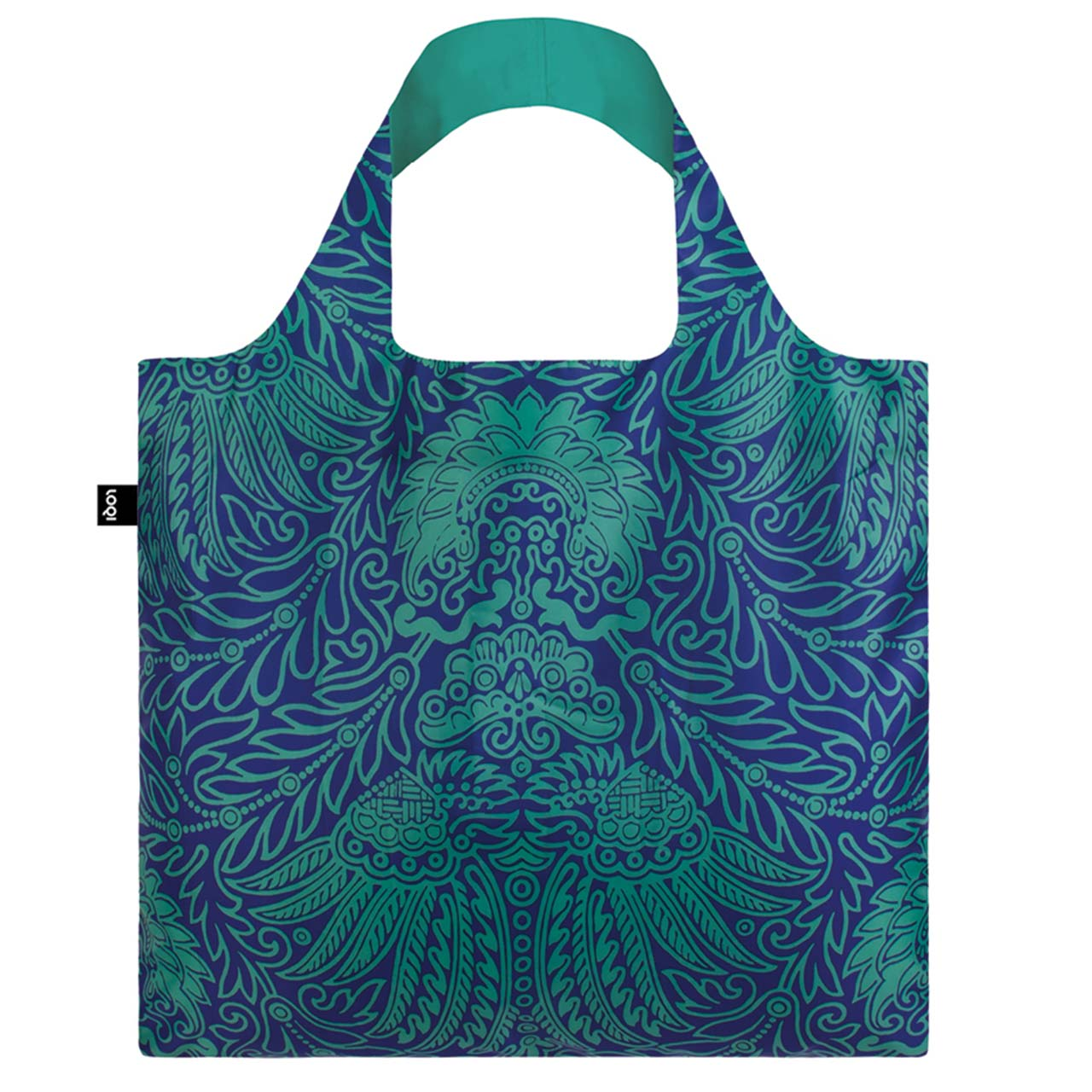LOQI bag featuring turquoise and blue intricate Japanese decor.