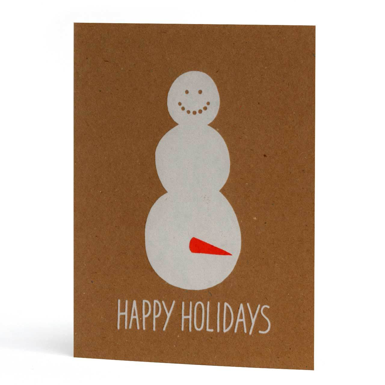 Happy Holidays Snowman Letterpress Greeting Card