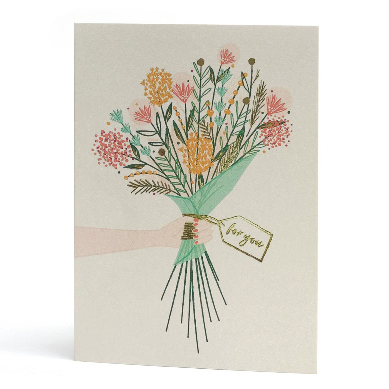 Bouquet For You Gold Foil Greeting Card