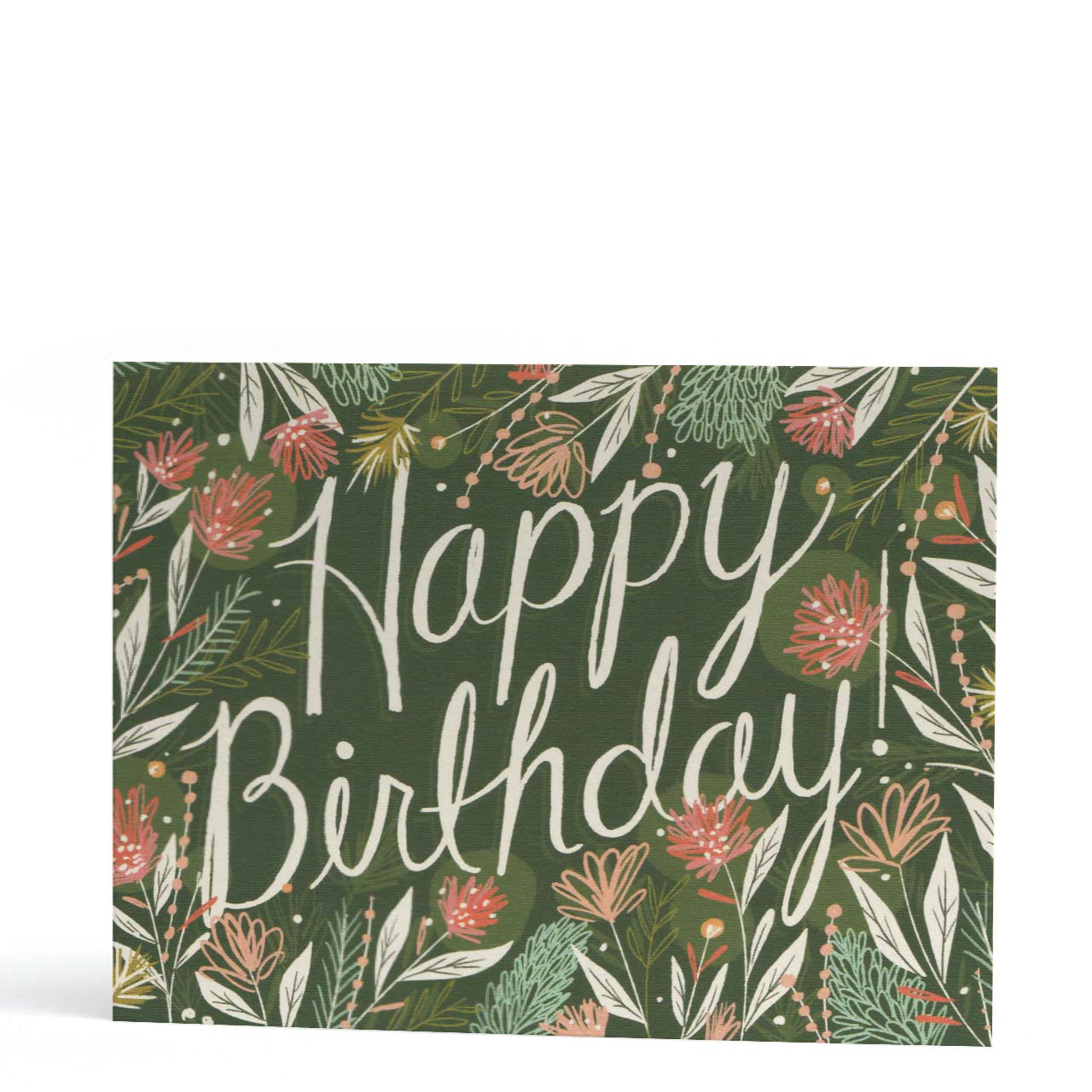 Happy Birthday Green Floral Greeting Card