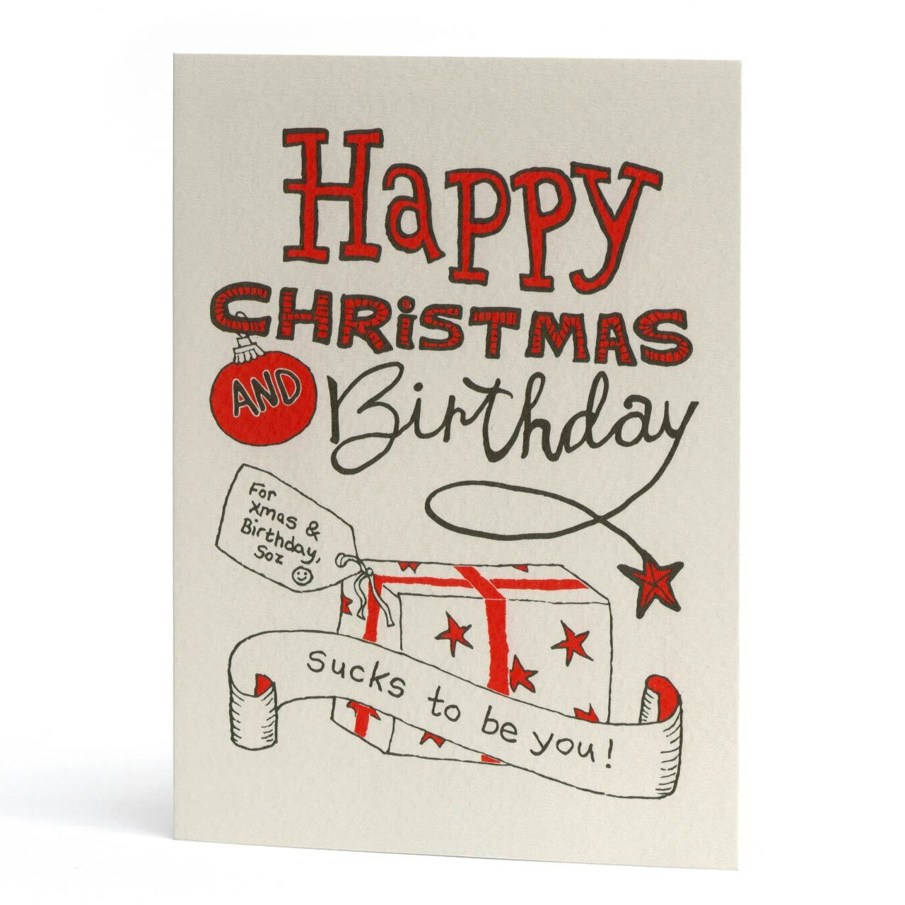 Happy Christmas and Birthday Greeting Card