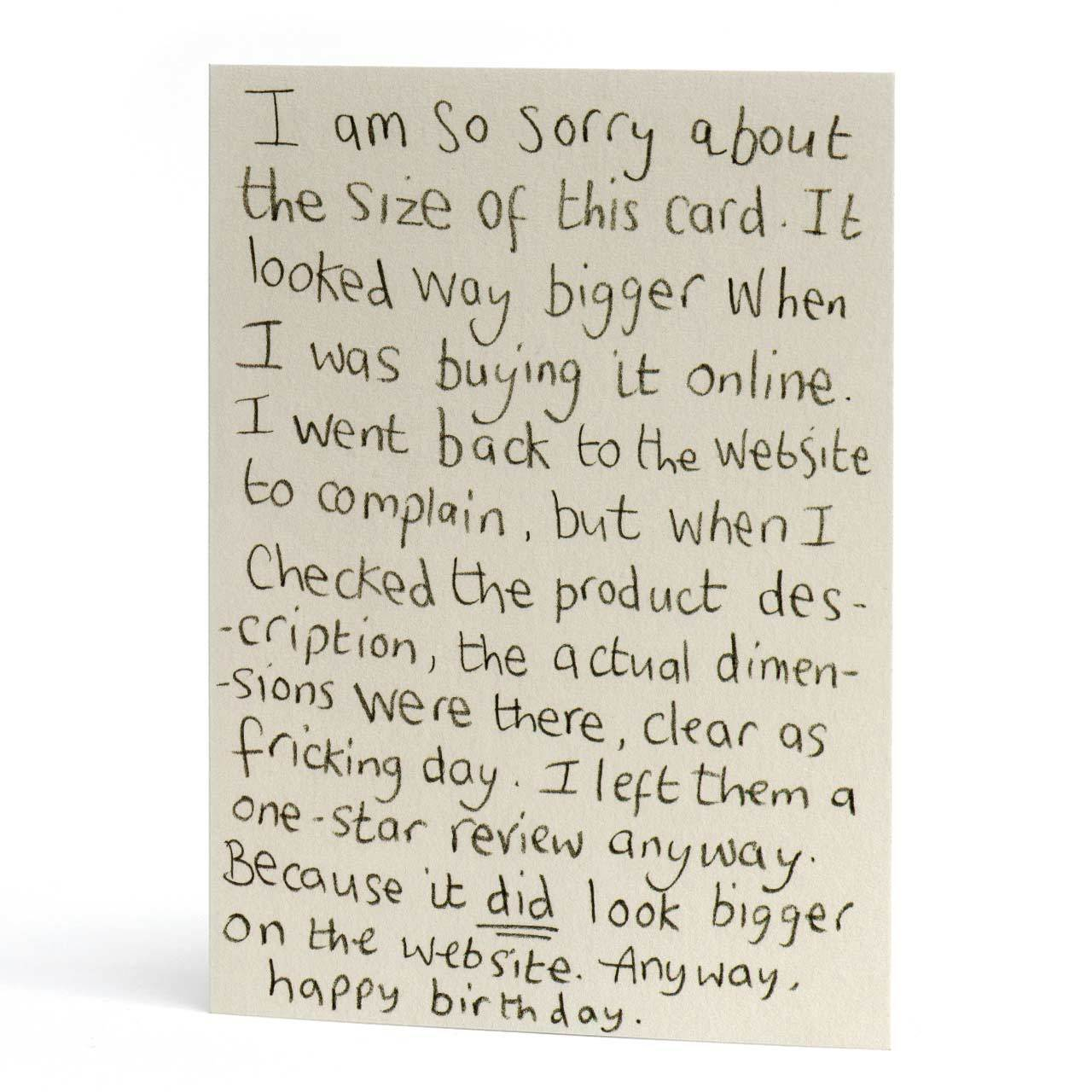 Sorry About the Size Birthday Greeting Card