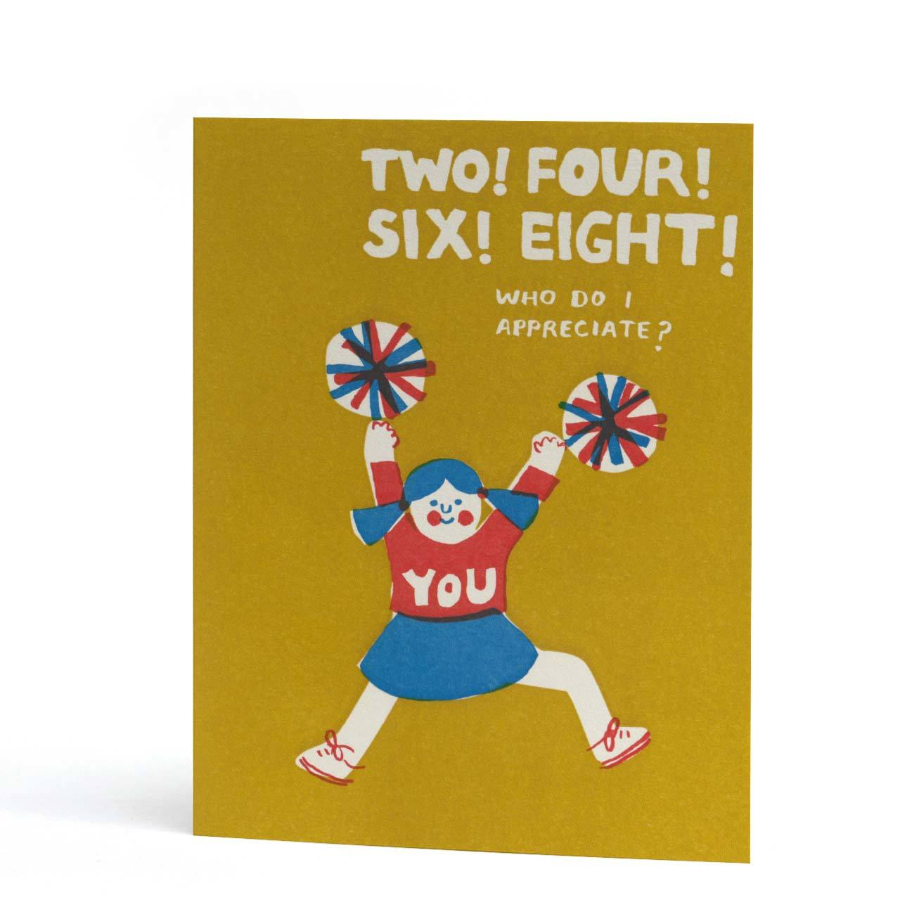 Two, Four, Six, Eight Letterpress Greeting Card