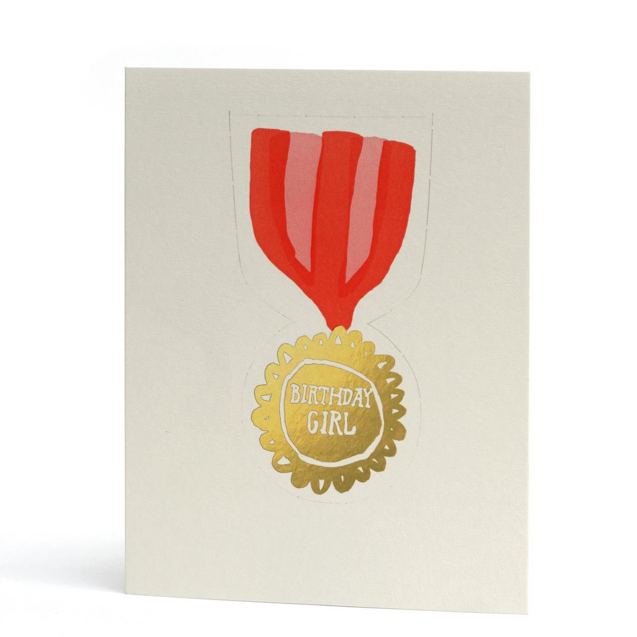Birthday Girl Pop-Out Badge Letterpress Greeting Card