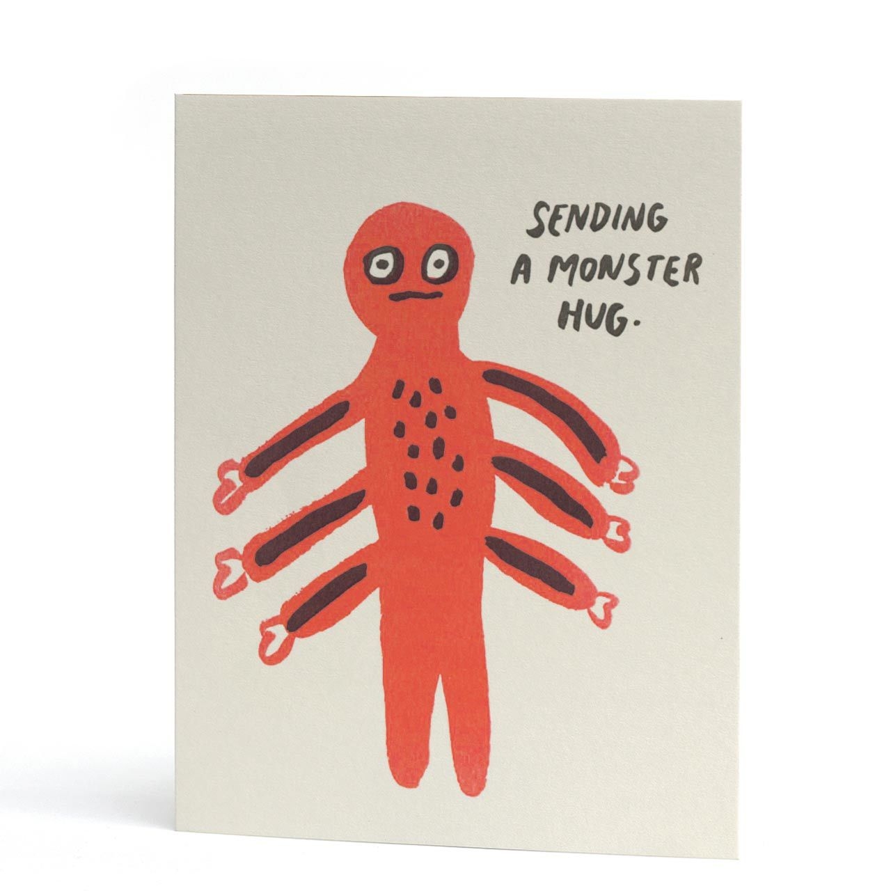Sending A Monster Hug Neon Letterpress Greeting Card