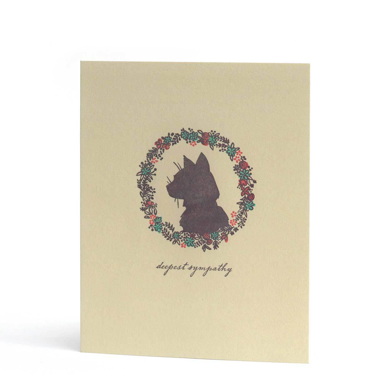 Deepest Sympathy Cat Letterpress Greeting Card