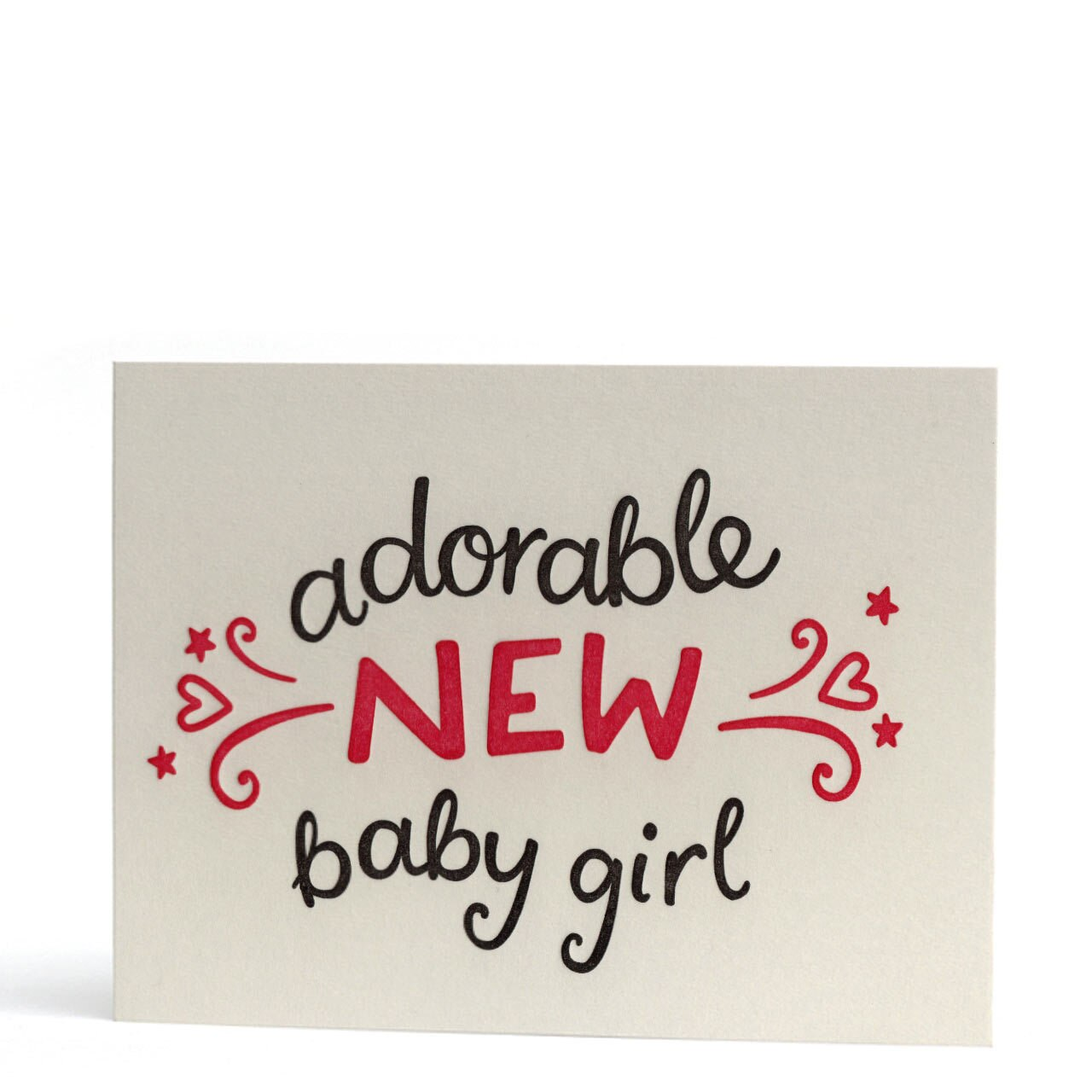 Adorable Baby Girl Letterpress Greeting Card