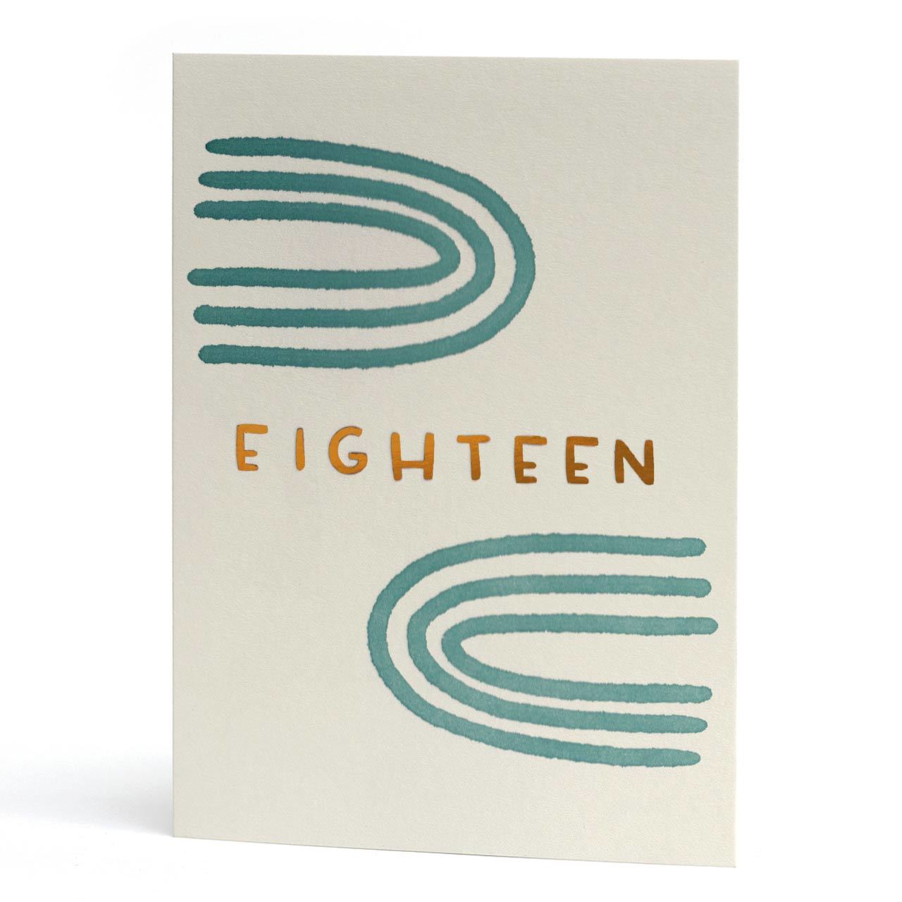 Eighteen Copper Foil Letterpress Birthday Card