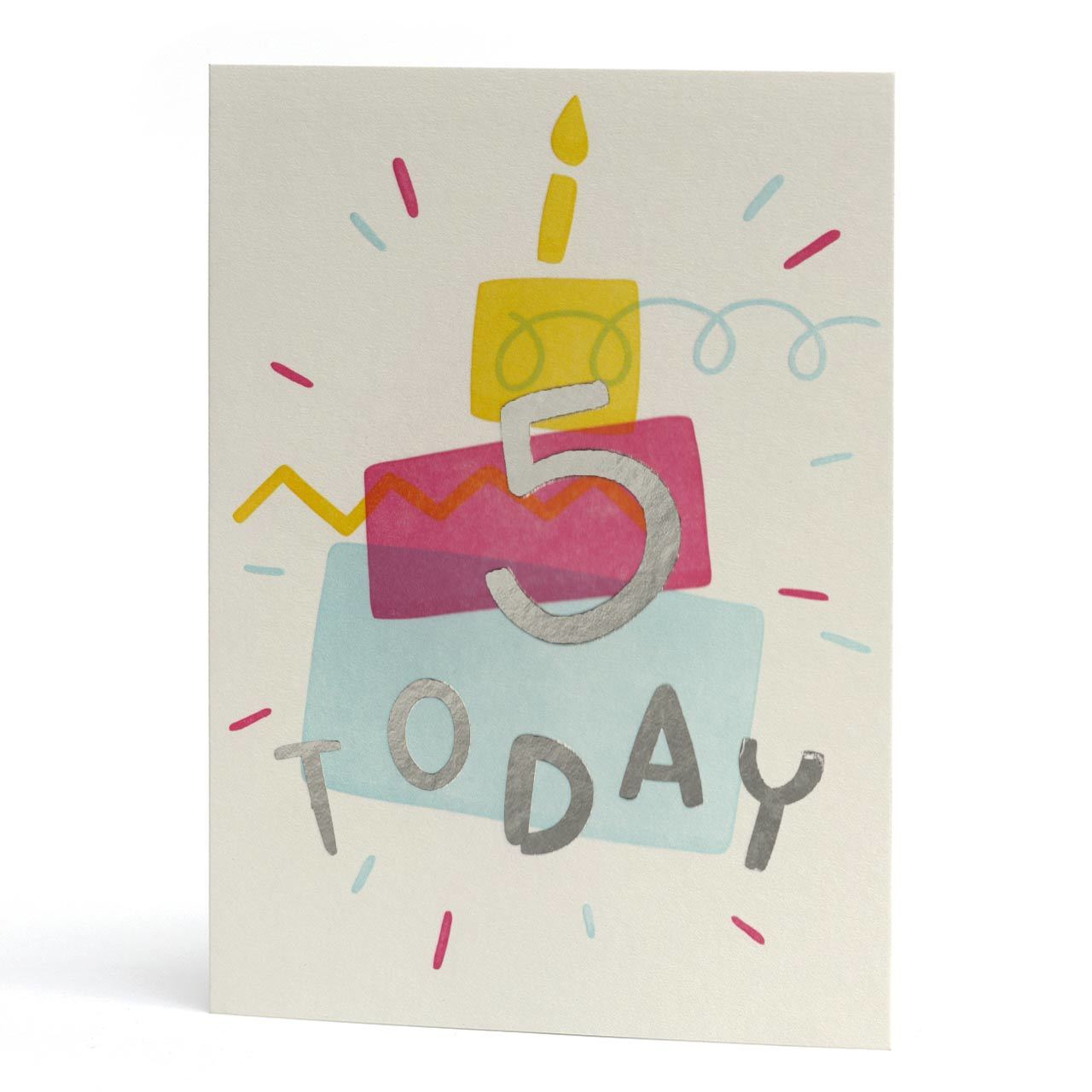 Five Today Silver Foil Letterpress Birthday Card