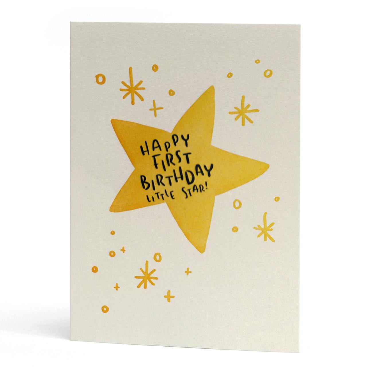 Happy First Birthday Little Star Letterpress Card