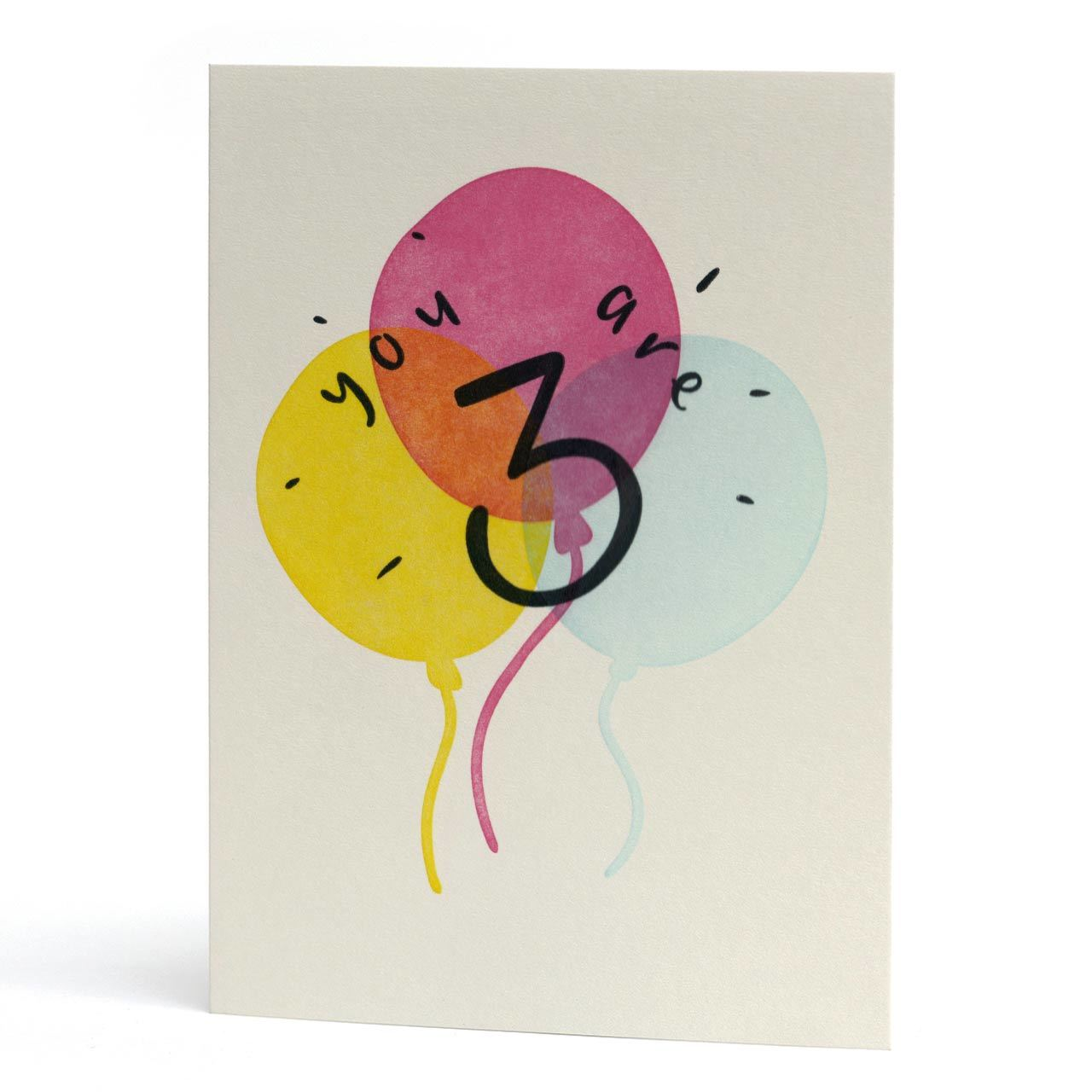 You Are Three Letterpress Birthday Card