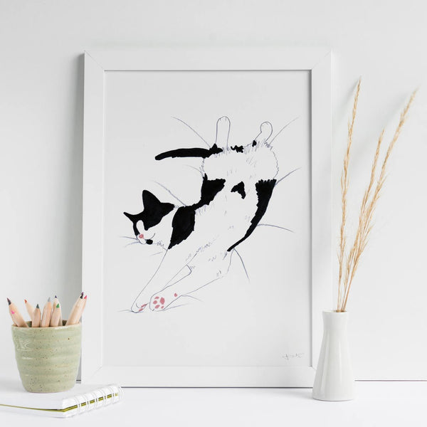 Black and White Snoozing Cat A4 Signed Art Print