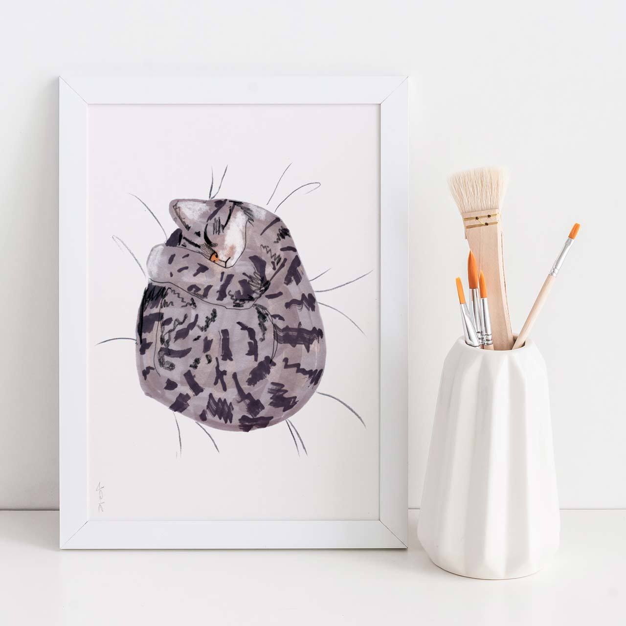 Grey Tabby Cat Nap A4 Signed Art Print