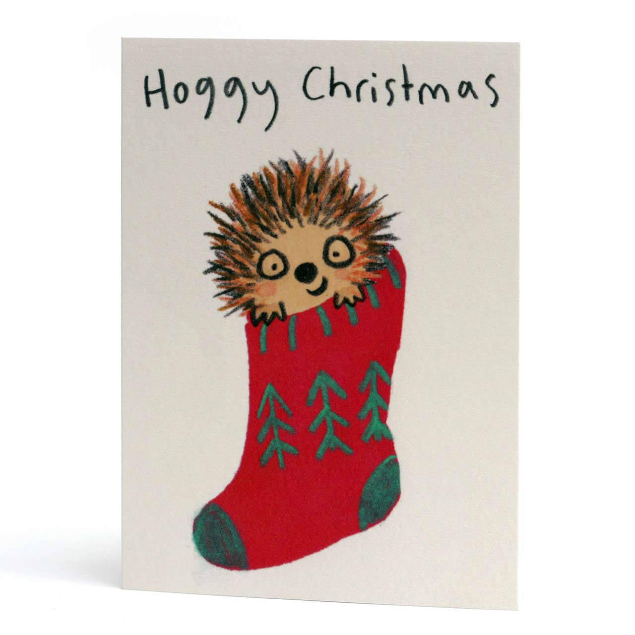 Hoggy Christmas Stocking Card