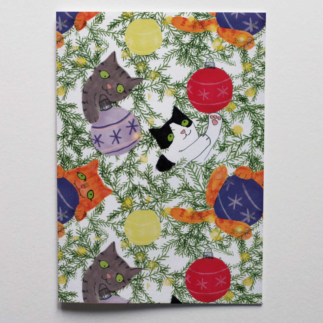 Christmas Tree Cats Wrapping Paper - Folded Single Sheet