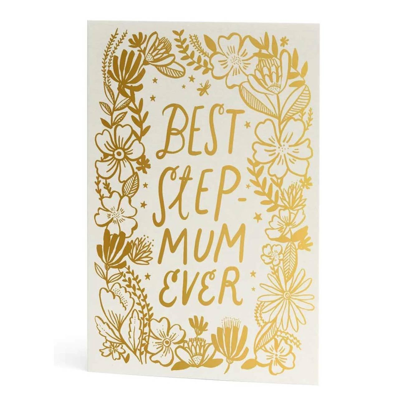 Best Step Mum Ever Gold Foil Greeting Card