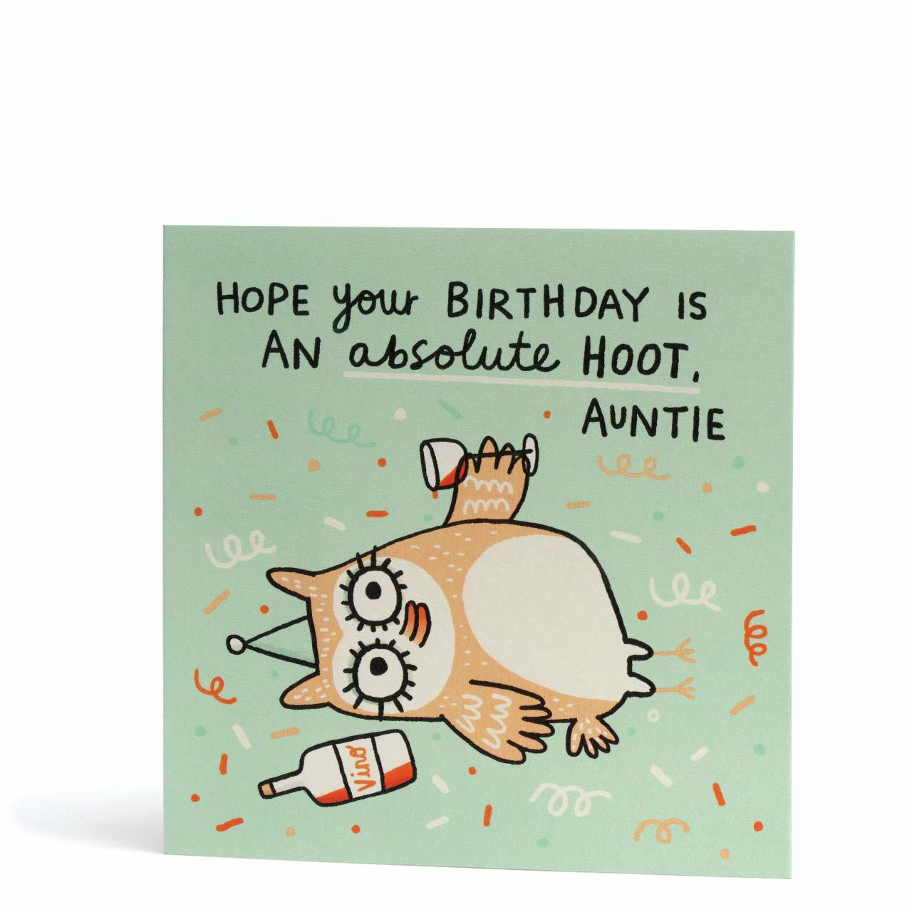 Birthday Hoot Auntie Greeting Card