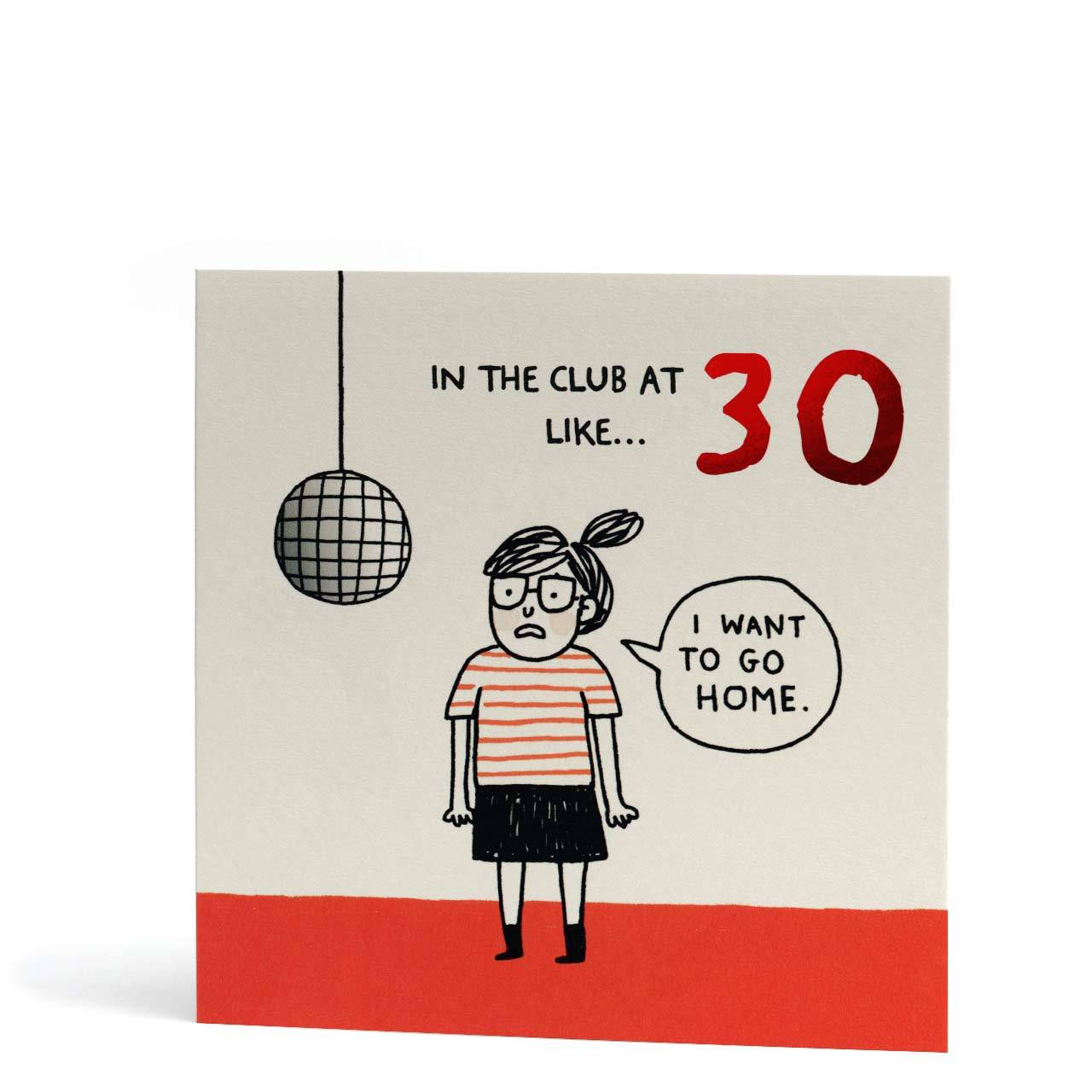 In The Club at 30 Red Foil Birthday Greeting Card