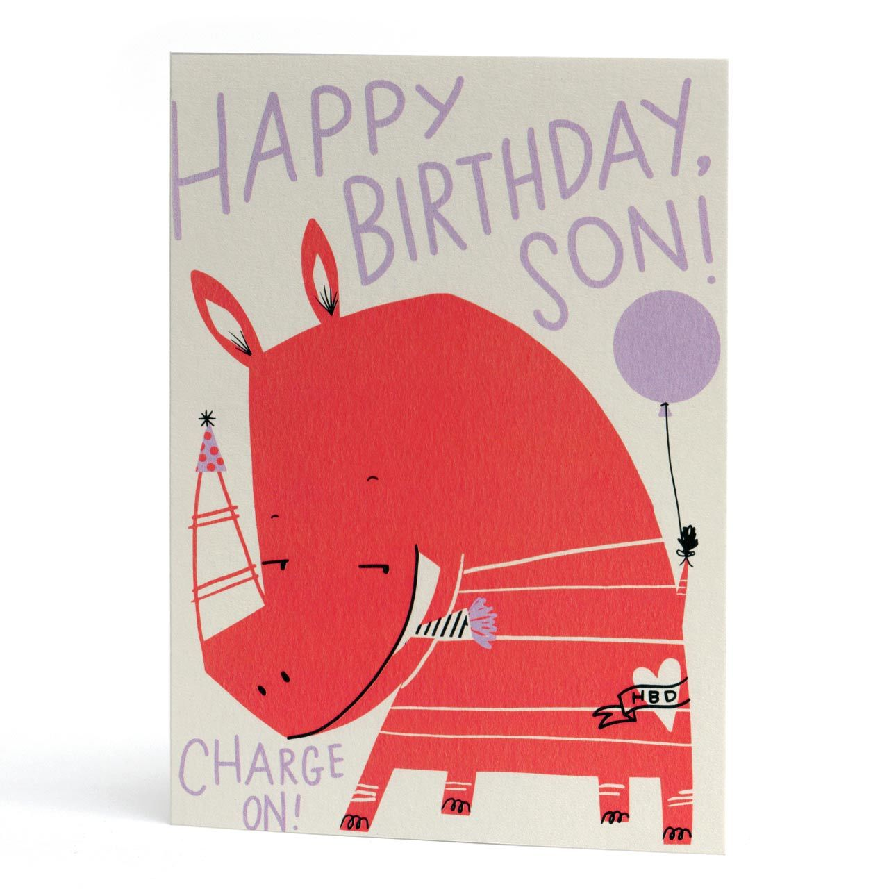 Happy Birthday Son Neon Rhino Card
