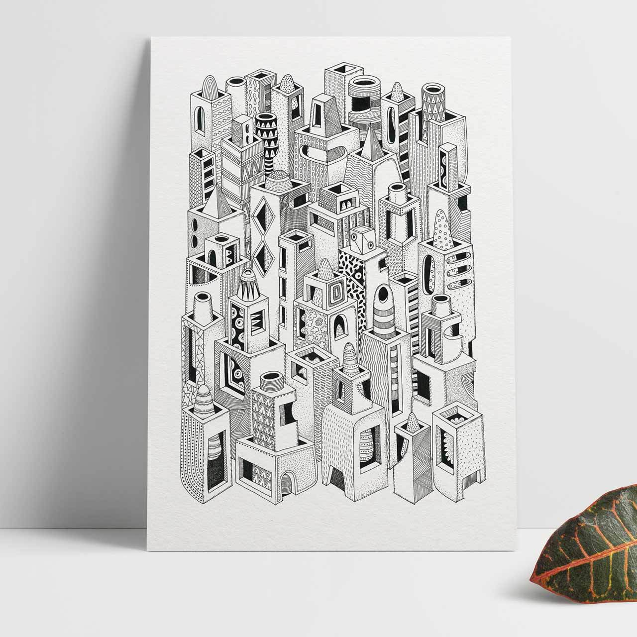 Cityscape A4 Black and White Abstract Print