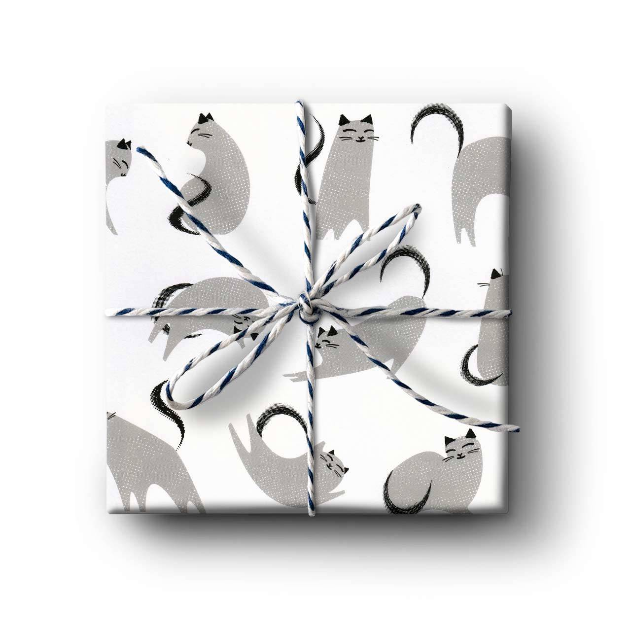 Grey Cat Gift Wrapping Paper - Folded Single Sheet