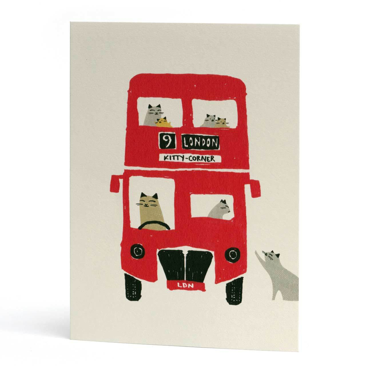 London Bus Cat Greeting Card
