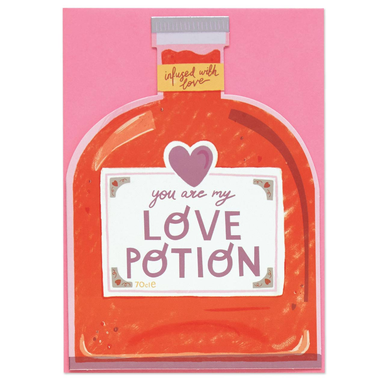 Love Potion Die Cut Foiled Greeting Card