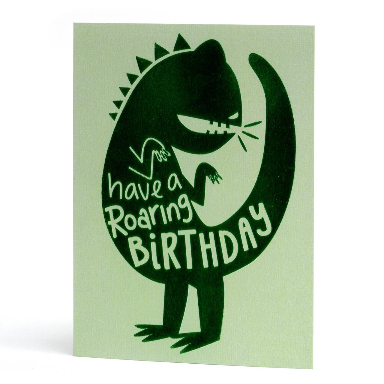 Roaring Birthday Green Foil Greeting Card
