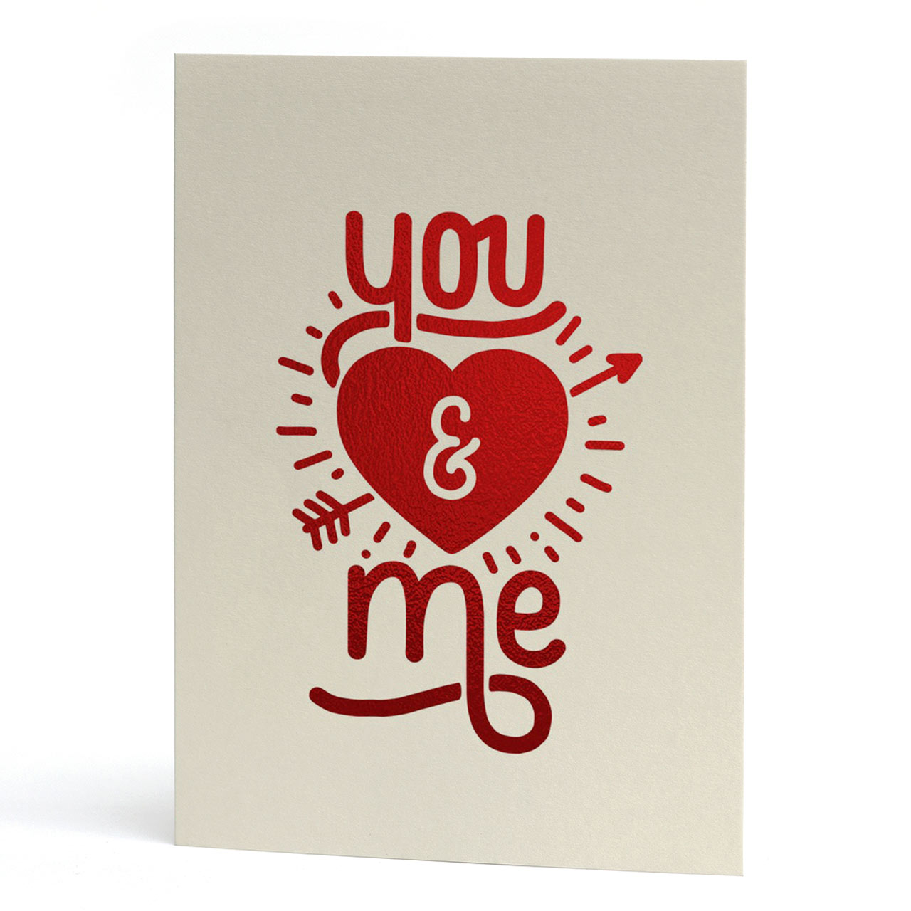 You and Me Red Foil Greeting Card