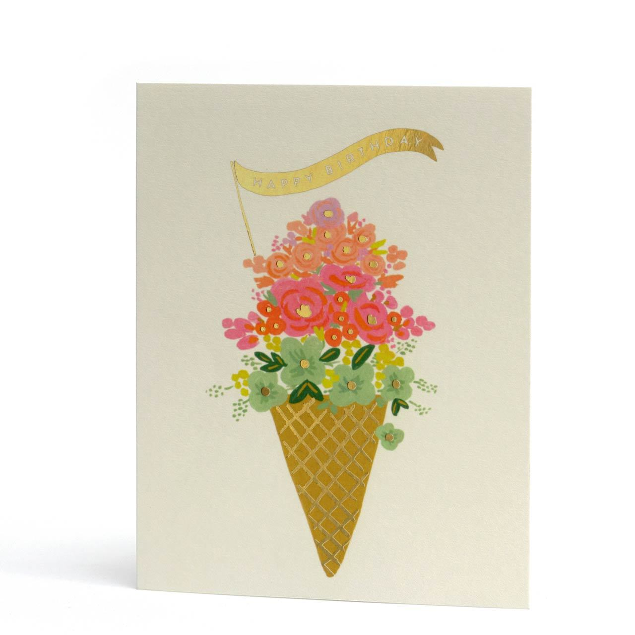 Ice Cream Birthday Gold Foil Greeting Card