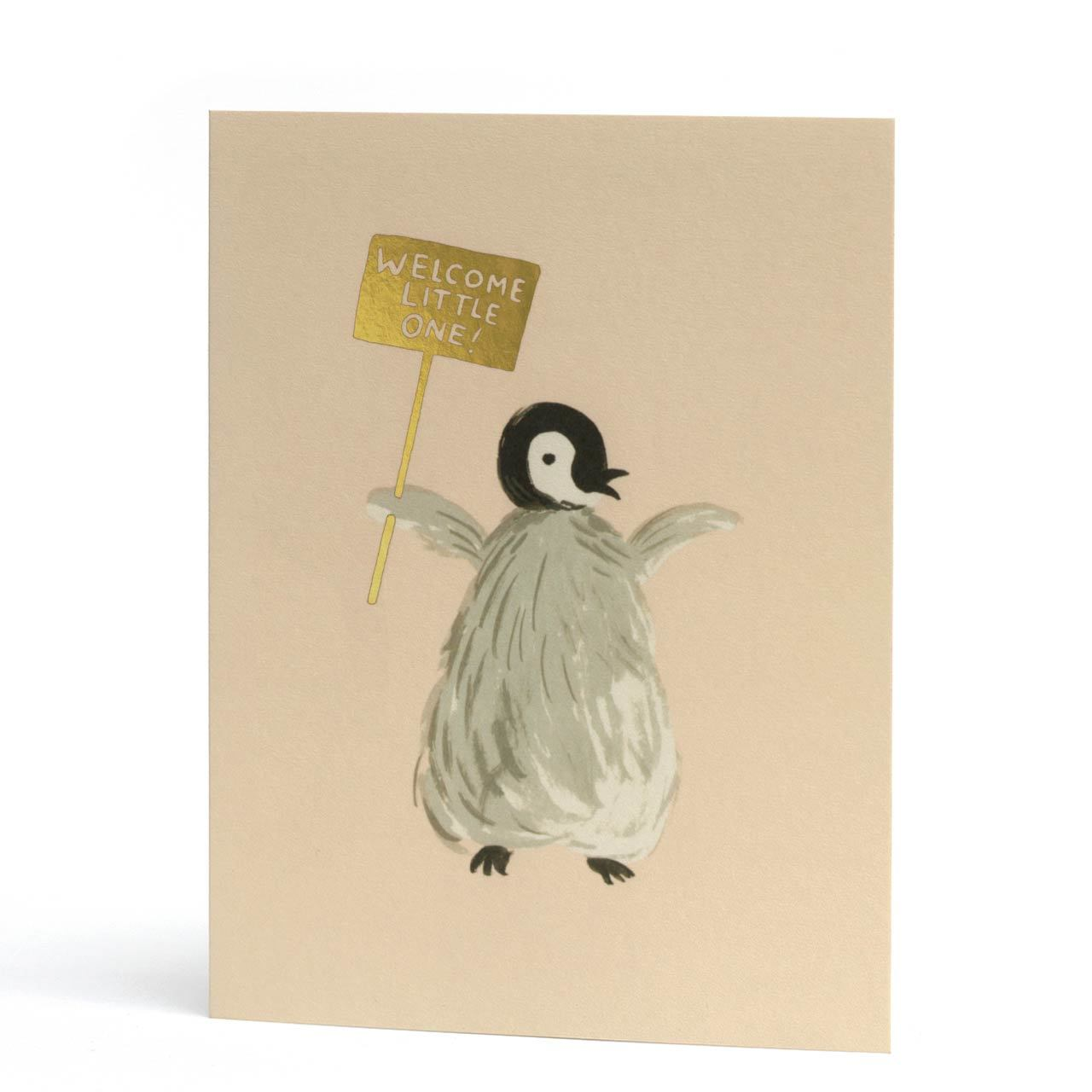 Welcome Penguin Baby Gold Foil Greeting Card