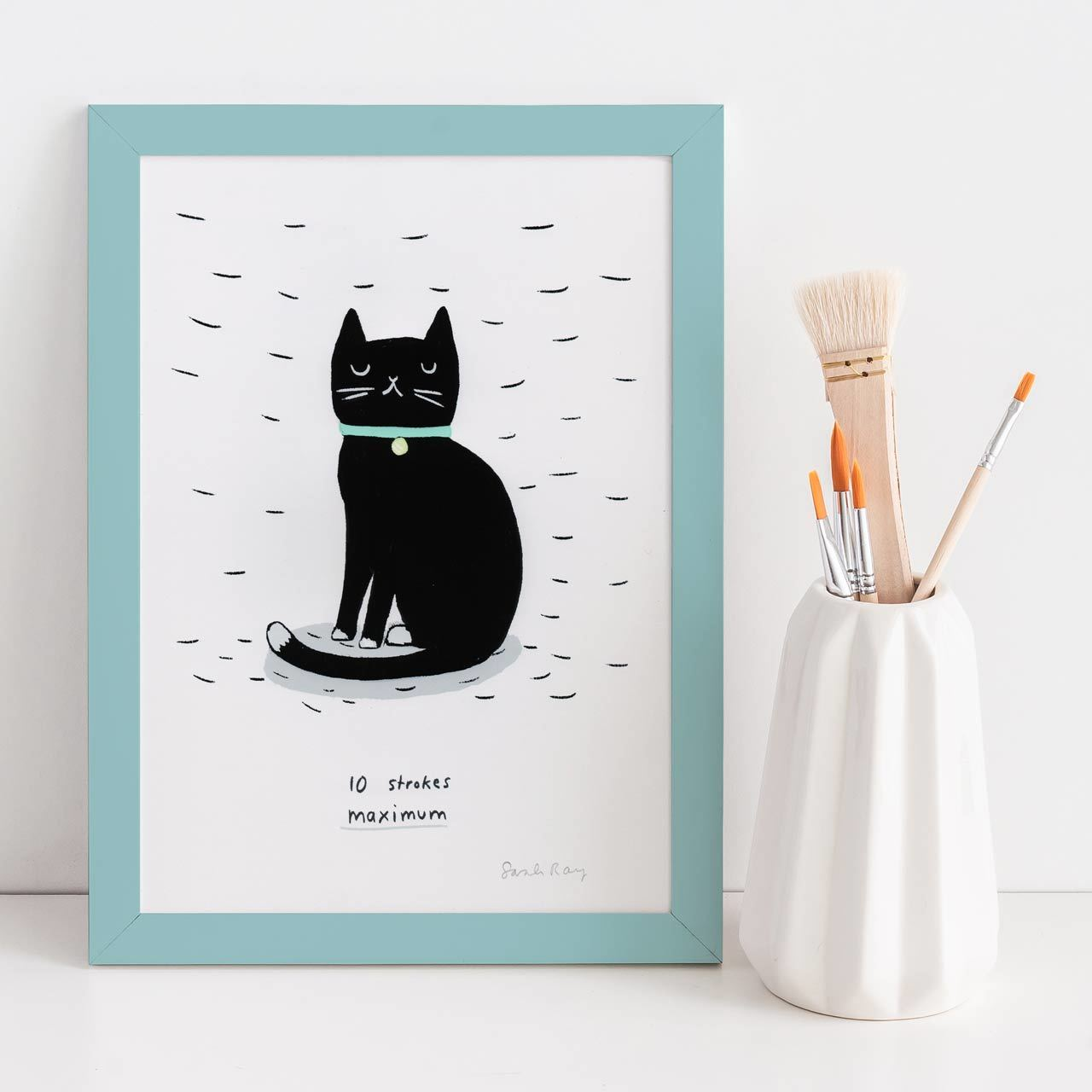 10 Strokes Maximum Black Cat A4 Art Print