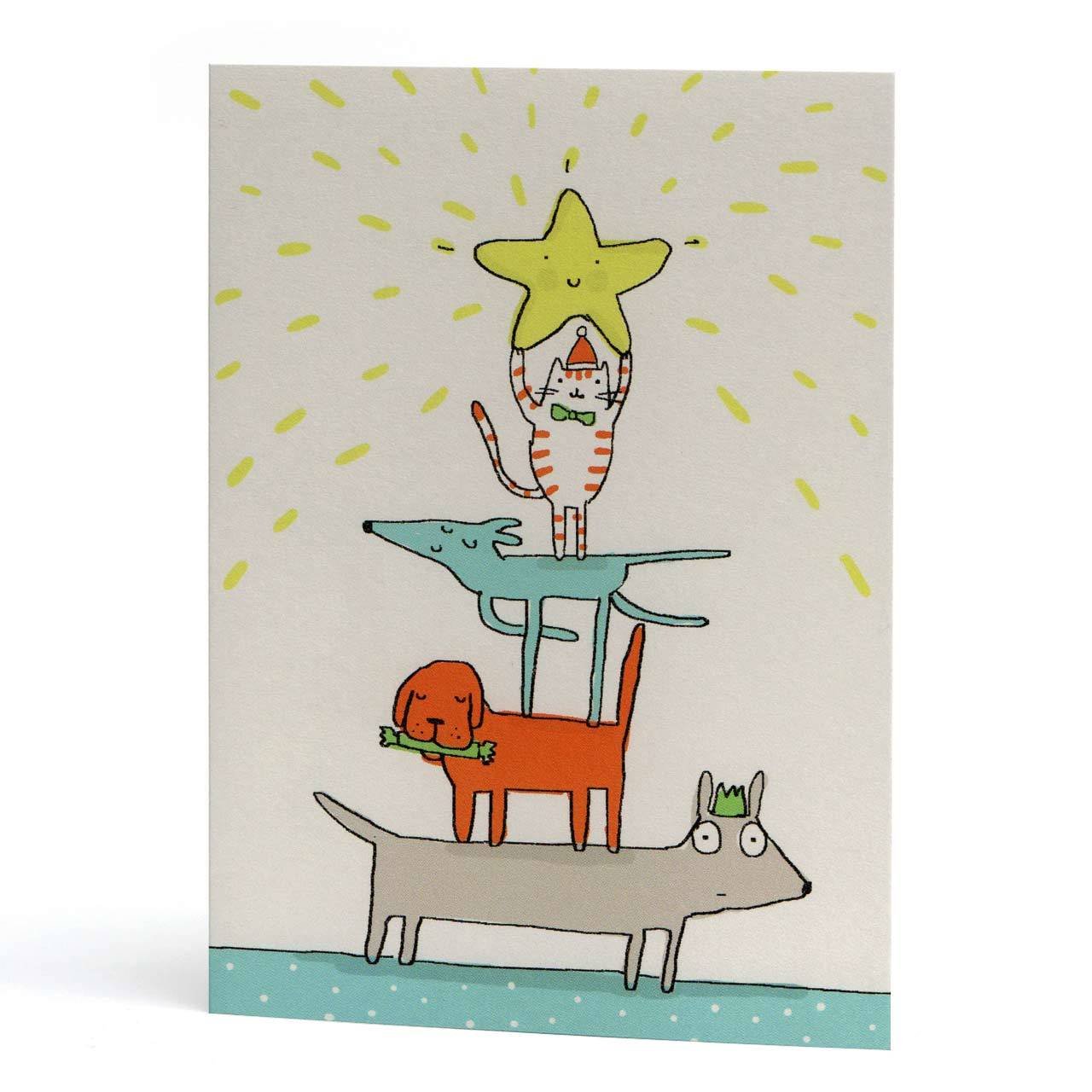 Dog and Cat Triangle Christmas Greeting Card