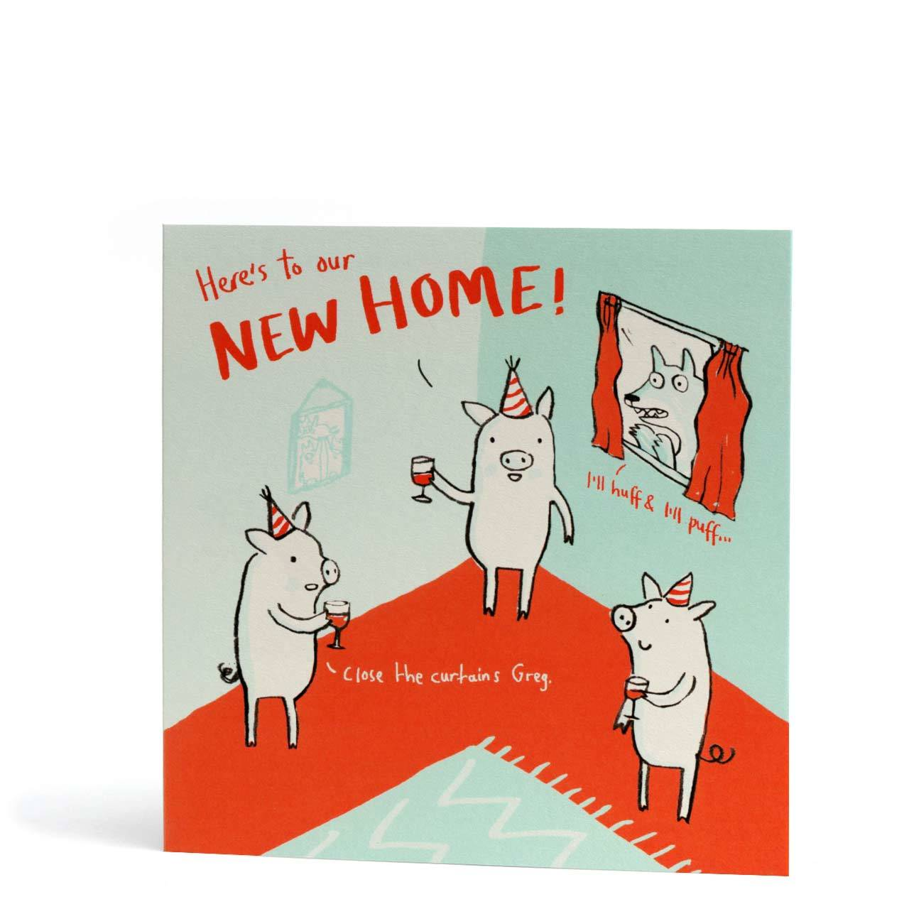 Pigs New Home Greeting Card