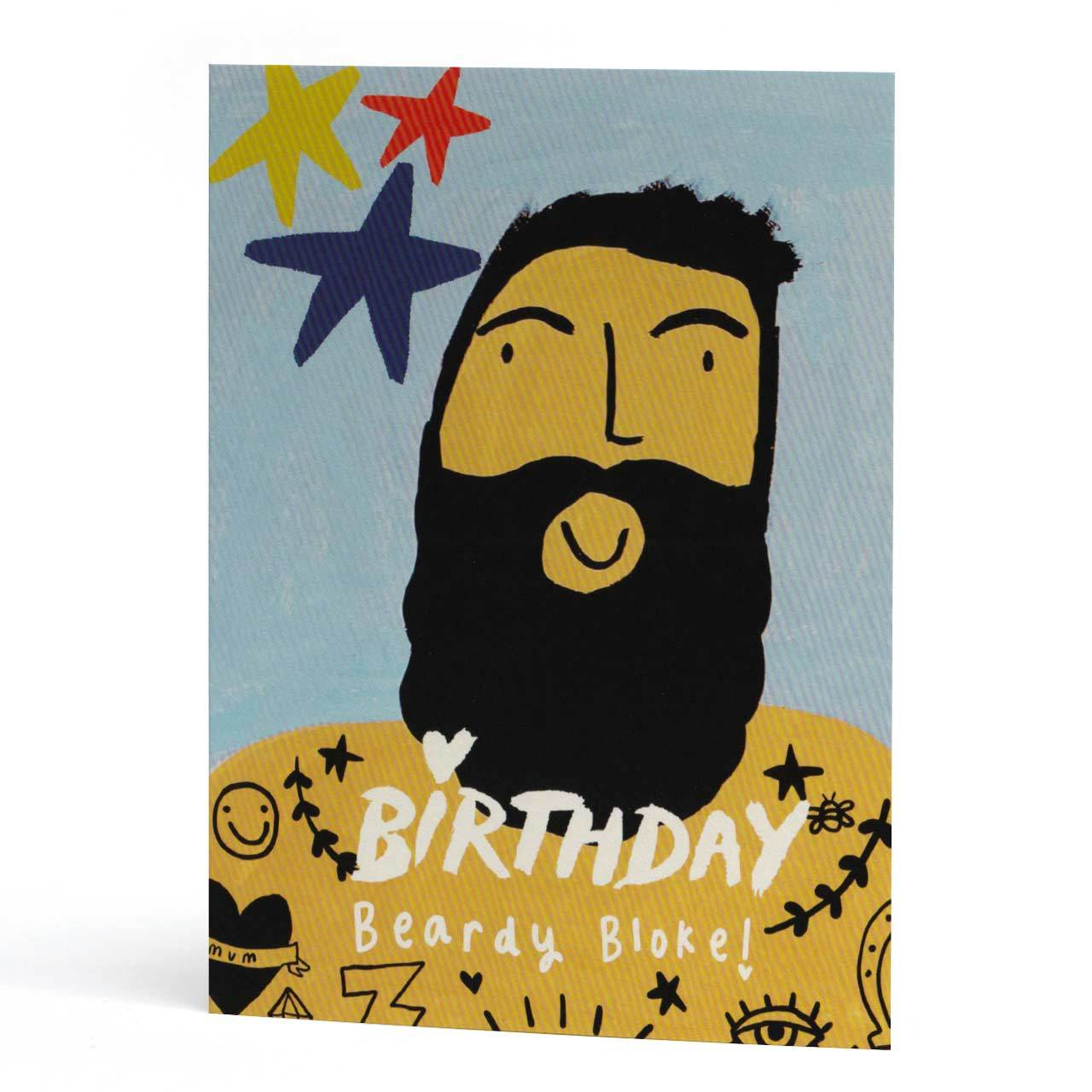 Birthday Stars Beardy Bloke Greeting Card