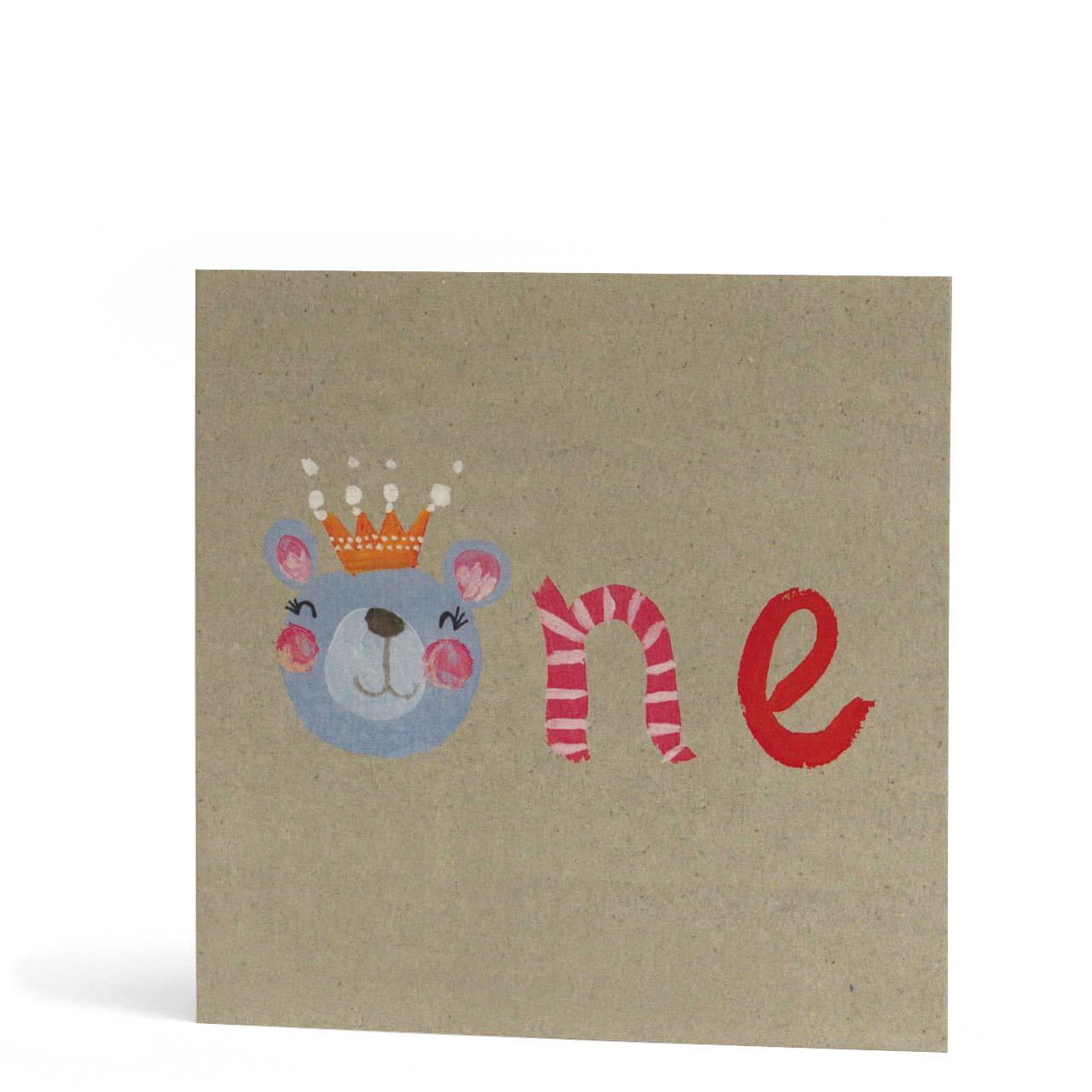 One Blue Bear Greeting Card