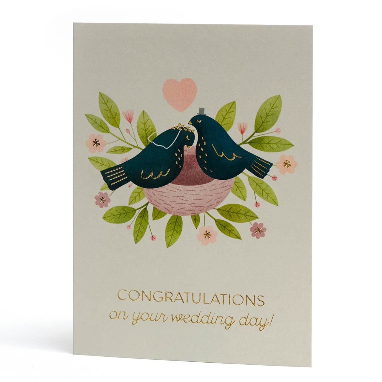 Love Birds Wedding Gold Foil Greeting Card